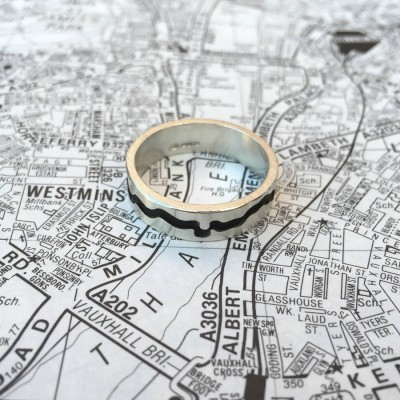 River Thames Cutout Solid Gold Ring