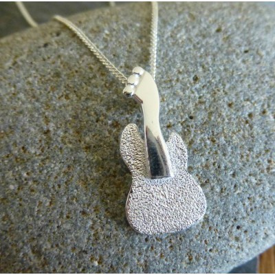 Solid Gold Guitar Pendant And Chain