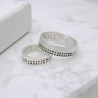 Cubes His And Hers Solid White Gold Rings