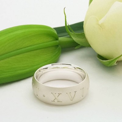 Roman Numeral Solid White Gold Ring