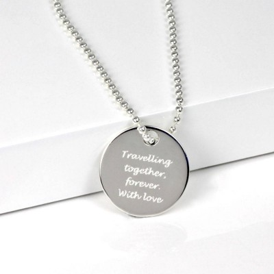 Solid Gold Round Dog Tag Pendant