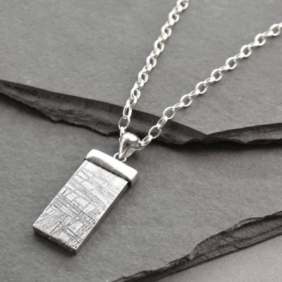 Solid Gold Tipped Meteorite Name Necklace