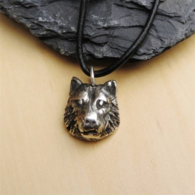 Solid Gold Wolf Head Name Necklace