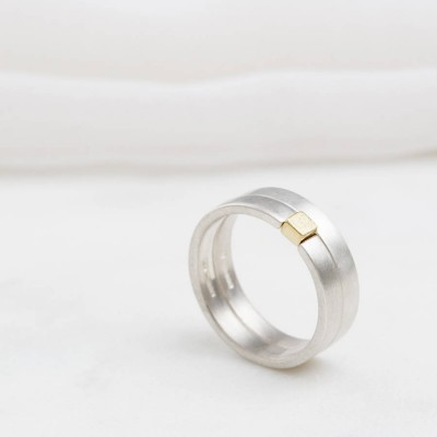 Square Puzzle Solid White Gold Ring