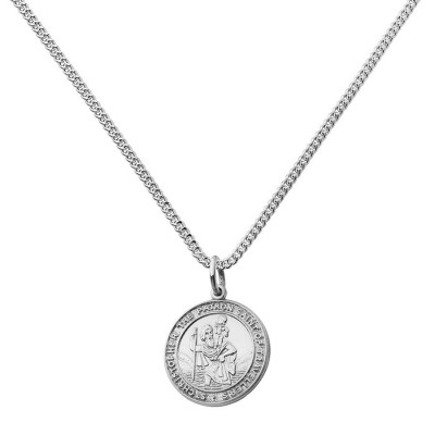 Solid Gold St Christopher Chunky Round Necklace