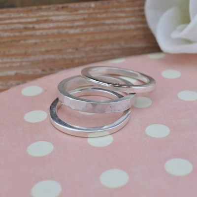 Stacking Solid White Gold Ring