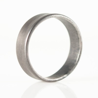 18CT Gold Oxidized Flat Wedding Band Ring