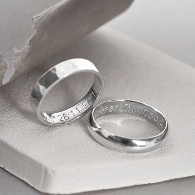 18CT White Gold Secret Message Ring