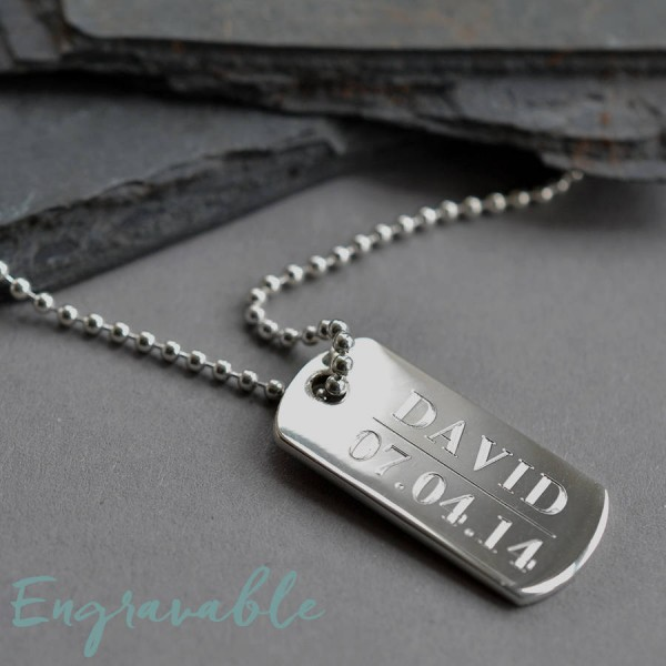 18CT White Gold Solid Dog Tag Necklace