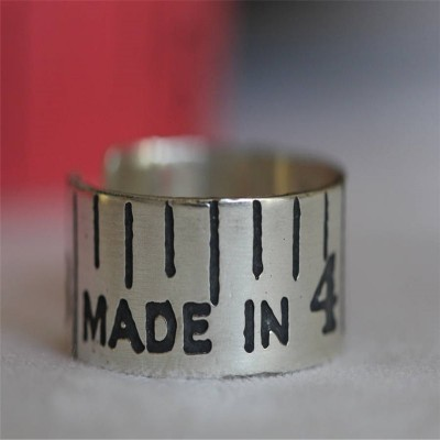 EtchedVintage Style Tape Measure Solid Gold Ring