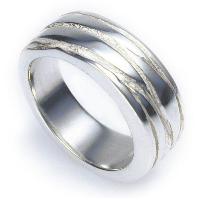 Texture Bound Solid White Gold Ring