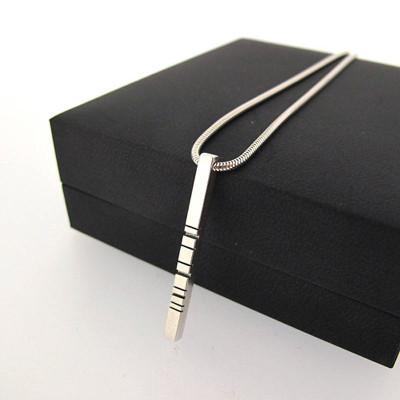 White Gold Thin Barcode Pendant