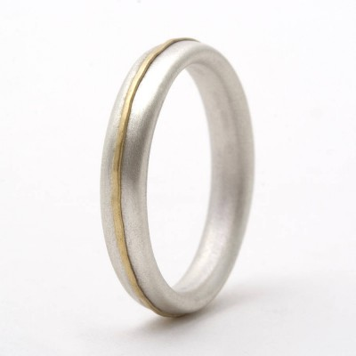 Thin 18CT Ring With 18CT Yellow Gold Detail