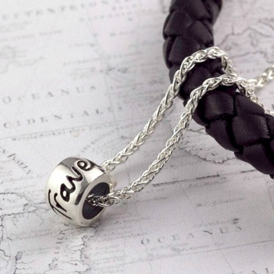 Solid Gold 'Travel Safe' SolidMojo Charm Name Necklace
