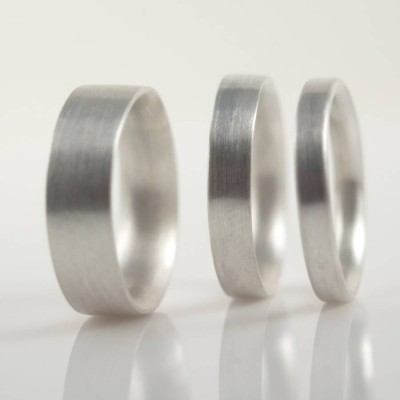 Mens 18CT White Gold Wedding Ring Comfort Fit Matt