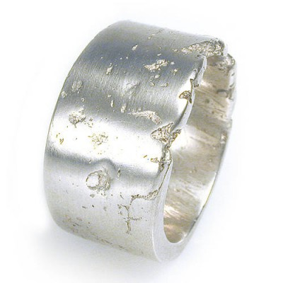 Wide Concrete Solid Gold Ring