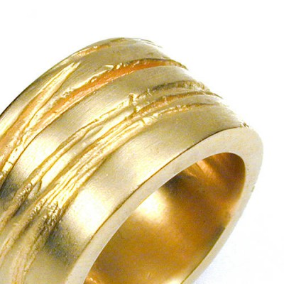 Wide Texture Bound Ring - 18CT Gold