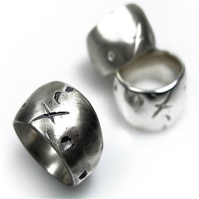 Rustic Wide Gnarled Solid White Gold Ring