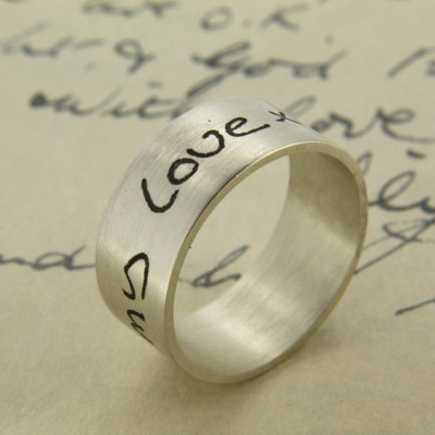 Your Own Handwriting Solid White Gold Ring